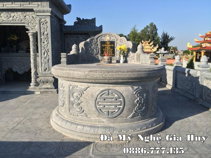 Mẫu Mộ đá tròn cao cấp Băm Bạt cao cấp của Đá mỹ nghệ Gia Huy, xây dựng năm 2020 tại Hà Nội