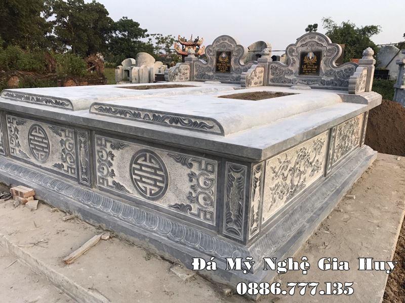 Mẫu Mộ đá ĐẸP chôn cất 1 lần Gia Huy năm 2021 - Mộ đôi đá cho Ông - Bà, Cha Mẹ của Gia chủ