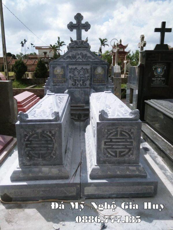 Mộ đá đôi Công giáo - Mộ công giáo đá đẹp hiện nay